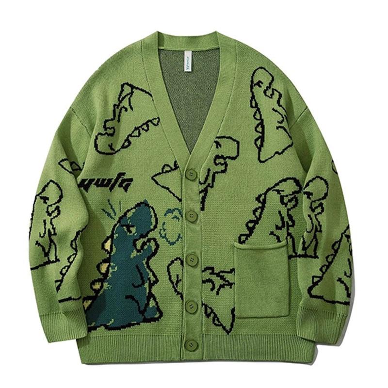 الهيب هوب محبوك بالأزرار الرجال الكرتون ديناصور كامل المطبوعة سترة القطن Vintage سترة فضفاضة المتضخم معطف للجنسين الخريف