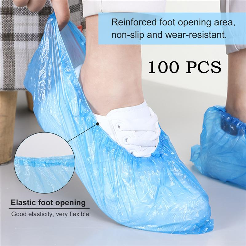 reusable step in sock portable auto package overshoes waterproof shoe covers shoe boot cover automatic 100pcs Plastic Disposable Shoe Covers Cleaning Overshoes Protective Floor Waterproof Protective Shoe Covers Protector Shoe Cover