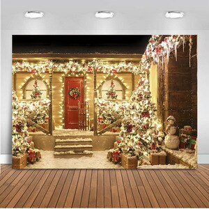 MOCSIKA  Glitter Christmas Backdrop for Photography Door Background for Photo Studio Merry Christmas Decoration for Family Party