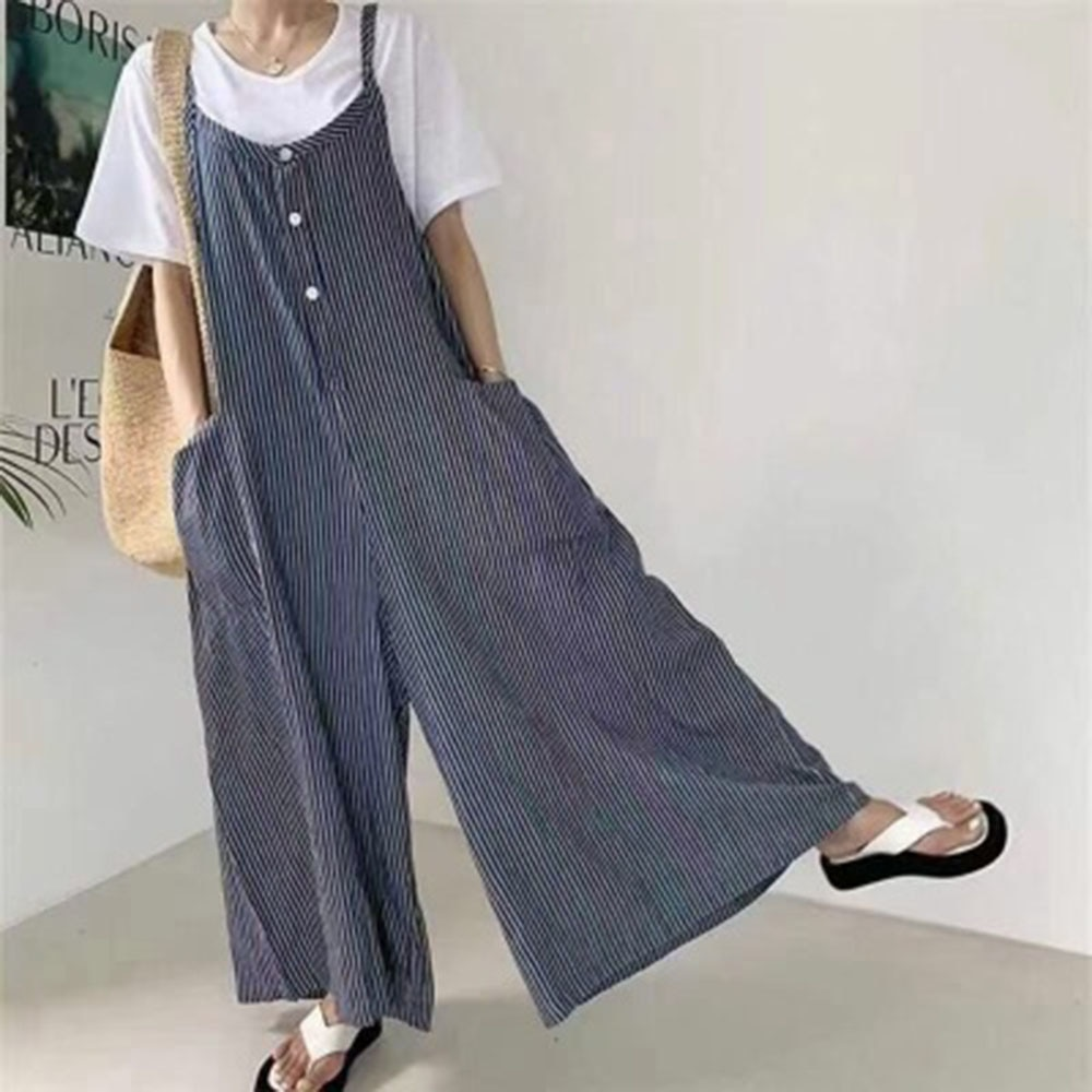 Japan Style Jumpsuit 2021 Summer Loose Casual Korean Fashion Simple Thin Popular Stripe Big Pocket W