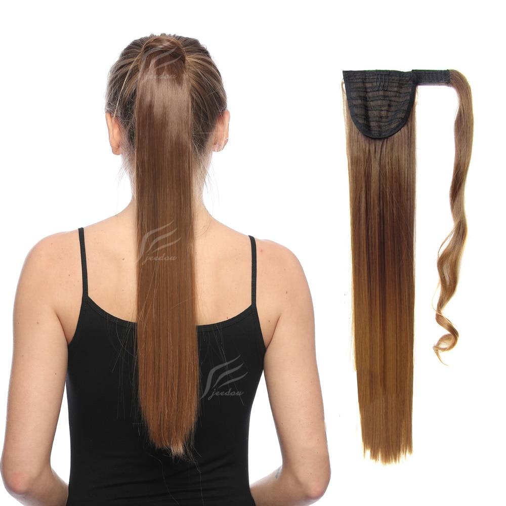 Прямые синтетические волосы jeedou, хвостики 22 дюйма 55 см 90 г, красные, розовые, разноцветные, с эффектом омбре, для наращивания волос хвостиком