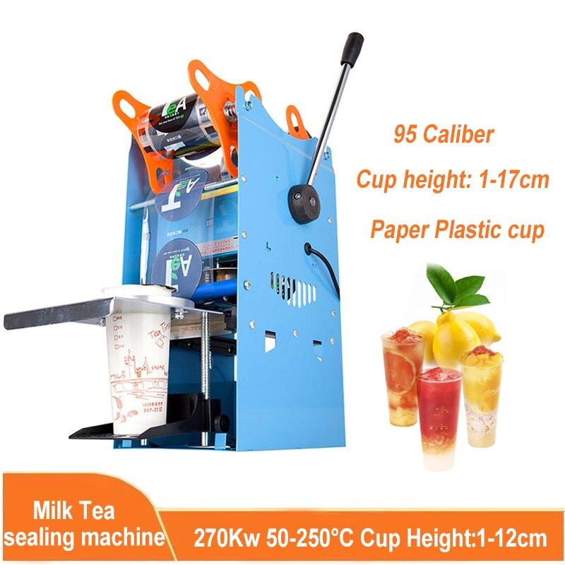 دليل التجاري الحليب الشاي آلة الختم 95 عيار متعدد السرعة التحكم في درجة الحرارة ورقة كأس سدادة كوب بلاستيكي آلة
