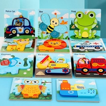Montessori Wooden Cartoon 3D Puzzle For Kids Educational Children Toys Car Animals Learning Cognitio