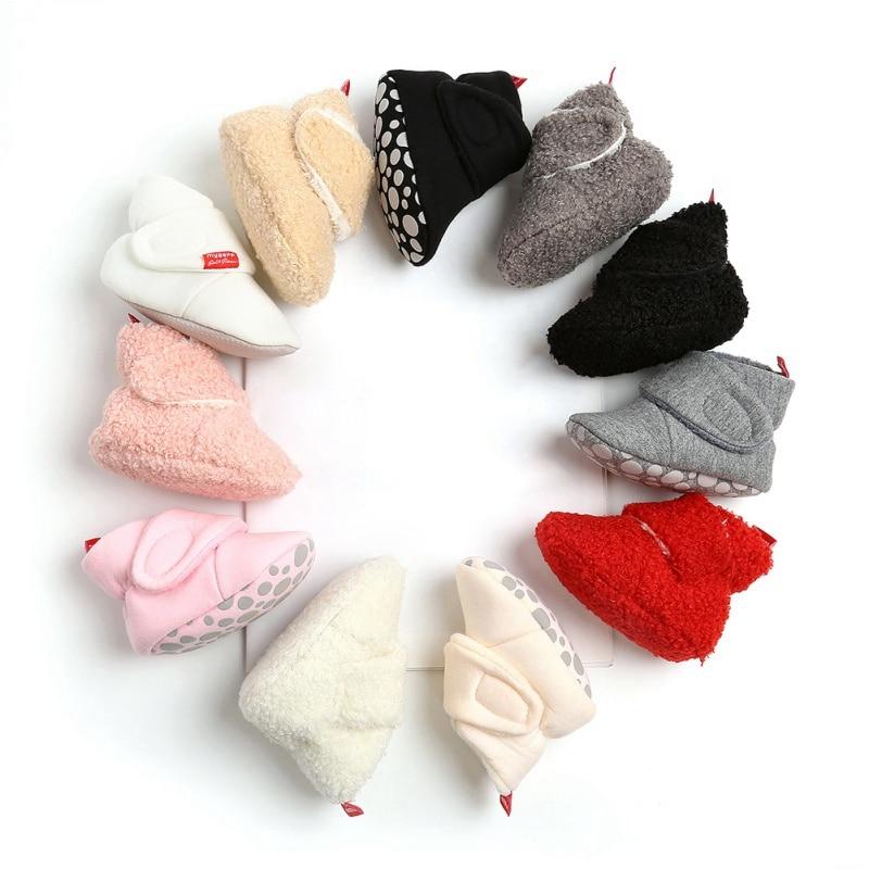 Invierno Bebé en primer lugar los caminantes bebés zapatos de piel sintética de botitas de bebé para niñas, además de terciopelo Niño recién nacido botas cuna zapatos
