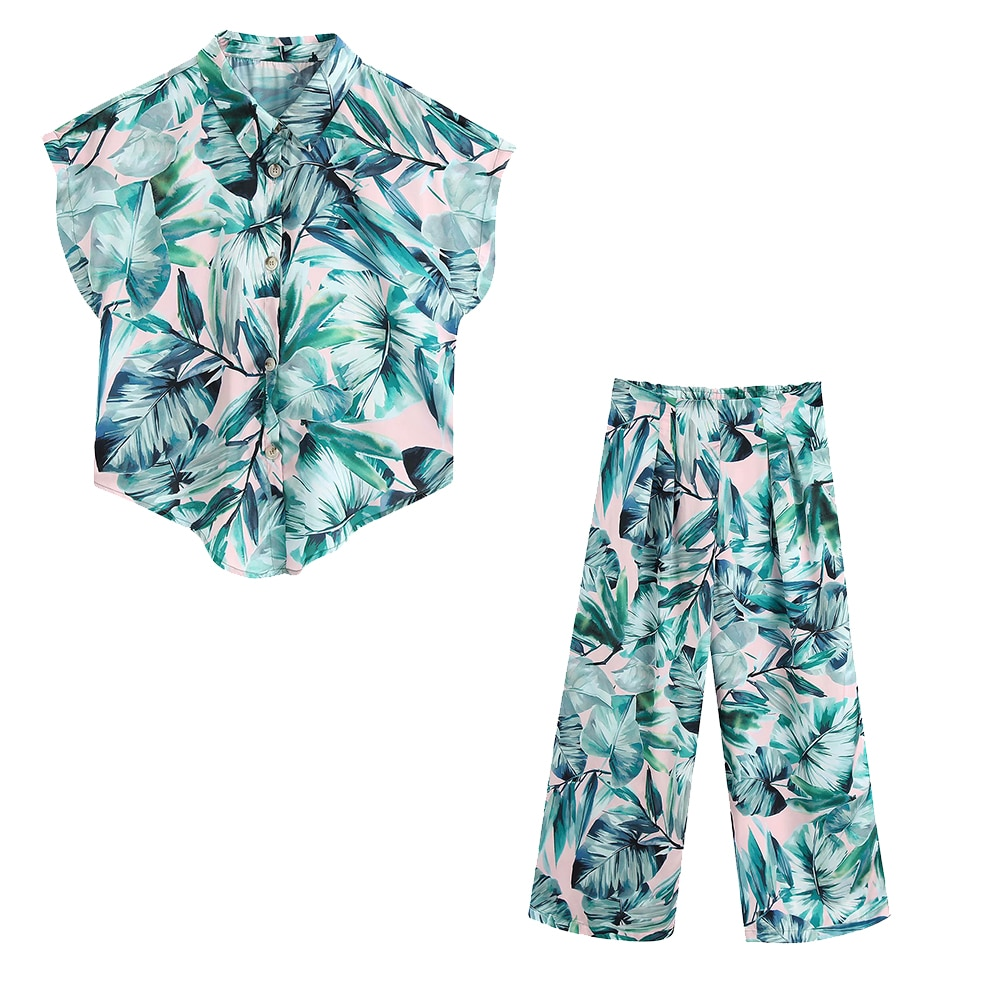 2020 NEW Summer Women 2 pieces Set green floral print shirt long pants Suit female casual woman clothes