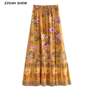 2021 Bohemia Yellow Floral Print Long Skirt Spliced Ruched Ruffle Hem Hippie Women Tassel Tie Bow Swing Skirts Holiday Pink