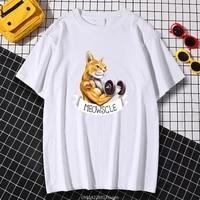 fashion cartoons new tops meowscle cute cat cartoons print womens hip hop summer tee clothing simplicity loose kohpweran