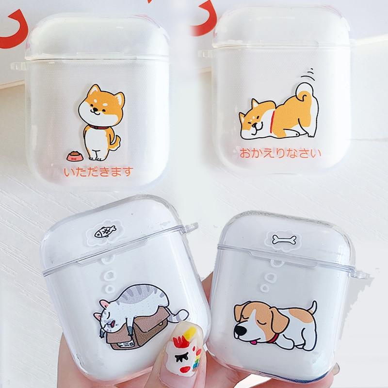 Cute Cartoon Funny Dog Cat Clear Soft TPU Case for Apple Airpods 1/2 Japanese Shiba Inu Puppy Bluetooth Wireless Earphone Cover
