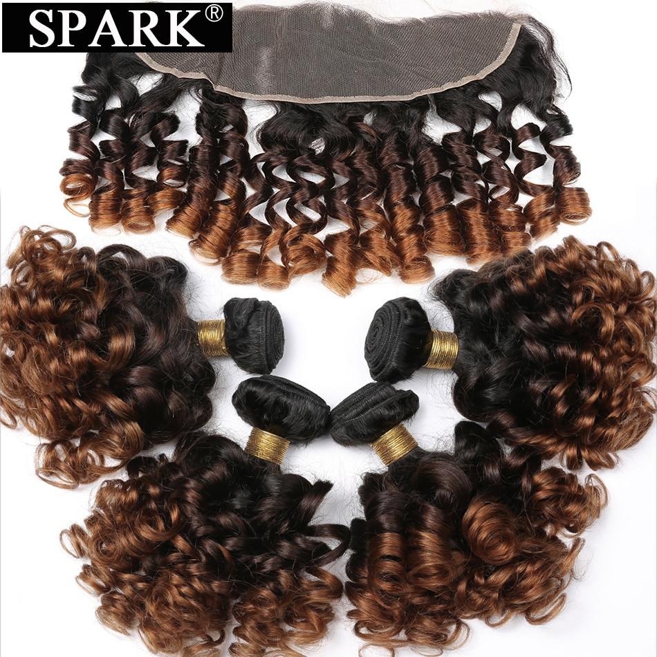 سبارك-وصلات شعر ريمي برازيلية طبيعية ، مجموعة من وصلات الشعر المجعد مع إغلاق أمامي من الدانتيل