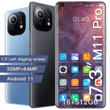 New M11 Pro Global Version Smartphone 5G Network 7.3 Inch HD Screen Snapdragon 888 12G 512G 48MP Camera Face ID Mobile Phone