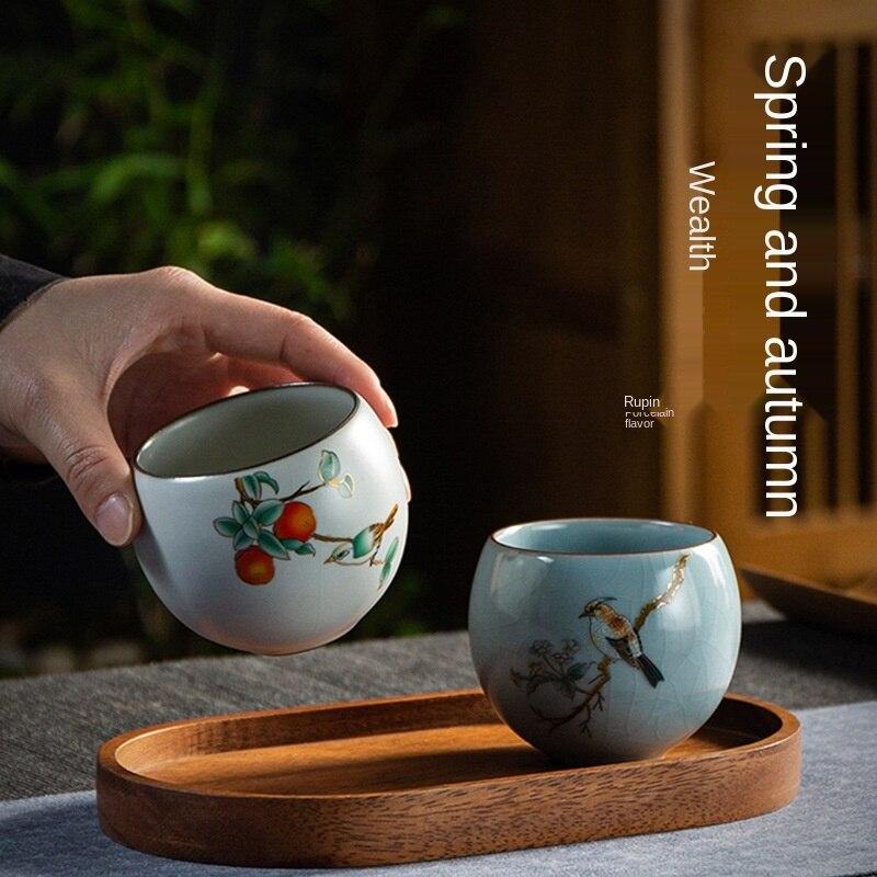 Ru-الخزف فنجان شاي السيراميك الكونغ فو اكواب الثنائي Ru وير الكراك الطبيعي supmobile ماستر كوب كأس الشخصية كوب واحد هدية