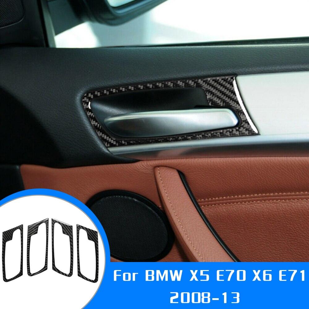 Adesivo decoração interior da porta do carro 4 unidades,, guarnição, fibra de carbono para bmw x5 e70 x6 e71 2008-acessórios para estilo do carro 2013