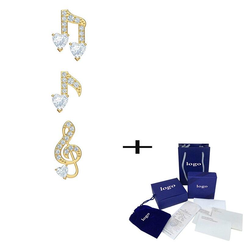 Moda 2019 nuevos pendientes perforados agradables Set tres en uno elegante resplandor nota patrón cristal pendientes joyería femenina