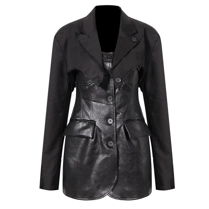 المرأة الخريف الجلود السترة فستان عكسها انفصال قطعتين عالية واسط أسود صغير مثير Bodycon فستان