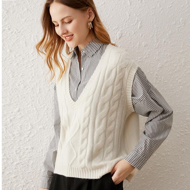 SHUCHAN SWEATER Vest Women 30% Cashmere 70% Wool England Style Sleeveless  V-Neck Solid  Knitted Vest Women enlarge