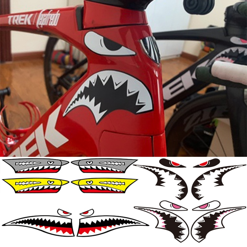 1Set Bicycle Frame Decoration Sticker Shark Head Tube Sticker MTB Bike Fixed Gear Sticker Cycling Accessories