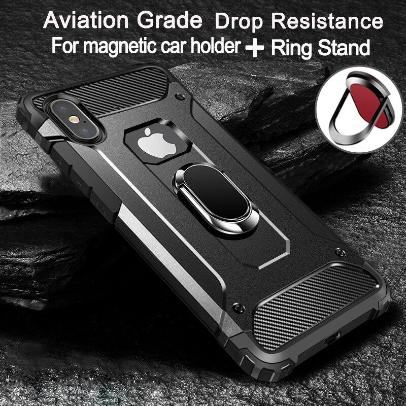Capa aviadora com suporte de anel, à prova de choque, capa completa para iphone 11 pro max x xs max 8 7 plus 6 capa 6s plus 5 5S se