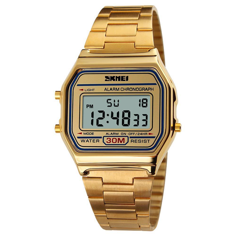 Homem retro negócios relógio eletrônico moda impermeável relógio de pulso ornamento presentes
