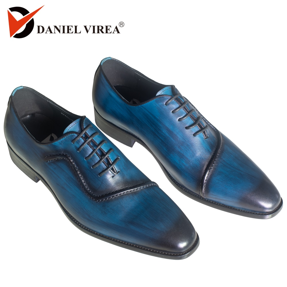 Zapatos de vestir de cuero genuino para Hombre Zapatos de boda de Punta puntiaguda pulidos a mano de Color azul de diseño italiano