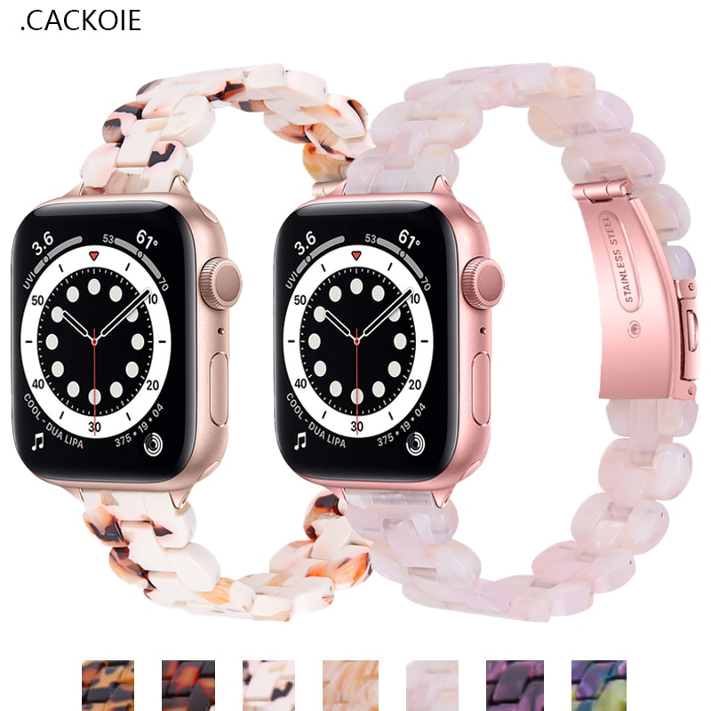 strap for apple watch 6 band 44mm 40mm 42mm 38mm leather replacement strap for iwatch apple se series 6 5 4 3 2 1 bracelet Resin strap for Apple Watch 6/SE/5/4/3/2/1 38mm 40mm Bracelet Sports Watchband Strap for iWatch SE/6 Apple Watch band 42mm 44mm