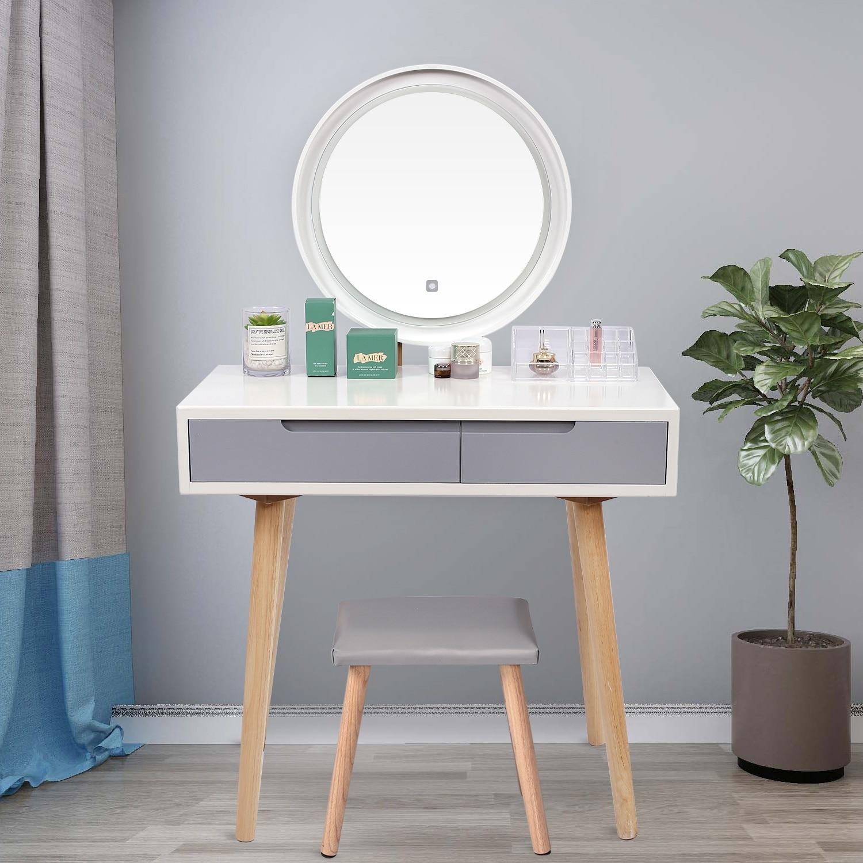مجموعة منضدة الغرور مع مرآة قابلة للتعديل خففت البراز الخشب ماكياج خلع الملابس الجدول الحمام مع منظم الماكياج المجاني