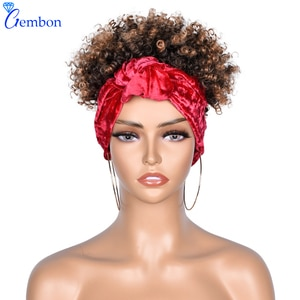 Fluffy Headband Wig Synthetic Wrap Wig Linked Turban Afro Kinky Culry Wigs For Women Red Bandana Ombre Wig