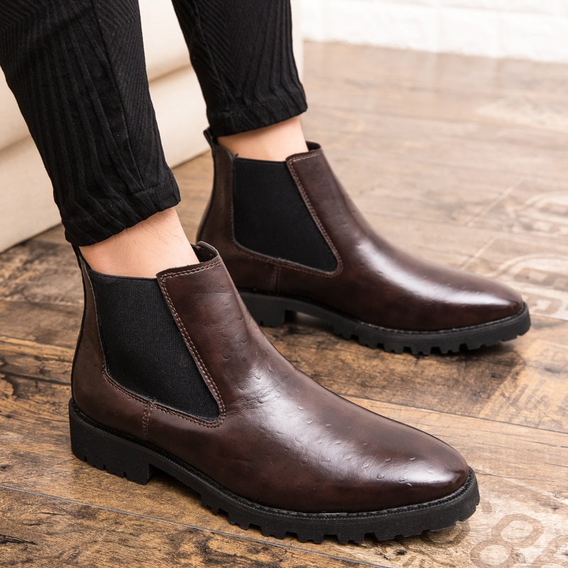 autumn winter men s chelsea boots british style fashion ankle boots black brown grey brogues soft leather casual shoes business 2019 Spring/Autumn Men's Chelsea Boots,British Style Fashion Ankle Boots,Black Brogues Genuine Leather Casual Shoes Slipon Boots