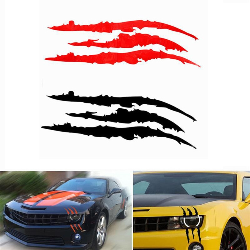 Pegatina reflectante de tira tipo rasguazo de monstruo para coche, pegatina divertida para coche, decoración de faros delanteros de coche, pegatina de vinilo de diseño artístico