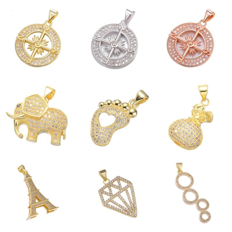 Juya DIY Color dorado Micro pavé zirconia talismán Animal elefante brújula dijes colgante para mujeres moda fabricación de joyería