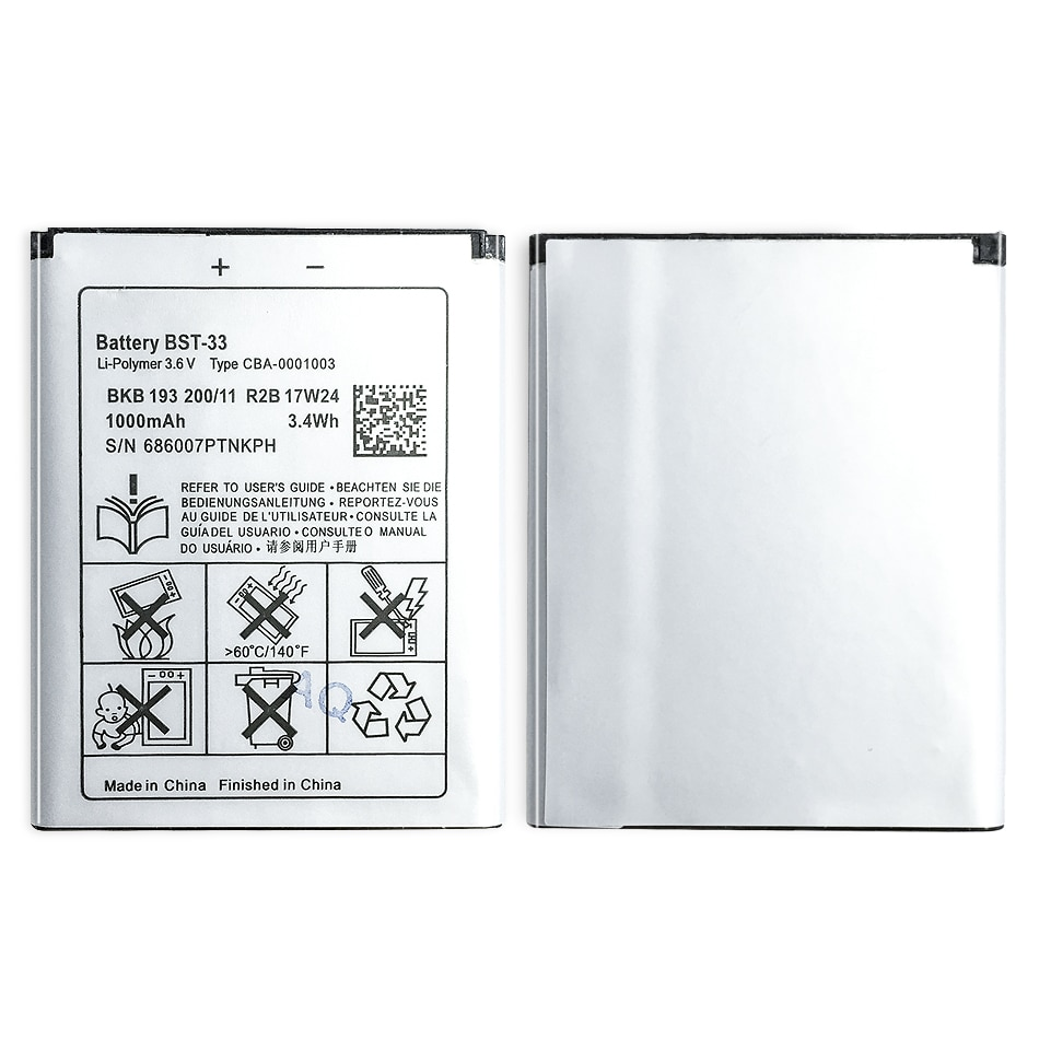 Новый BST-33 литий-ионный аккумулятор для мобильного телефона Sony Ericsson W205 W300 W300i W302 W395 W595 W595a W610 W610i W660 W705 W705u 1000mAh