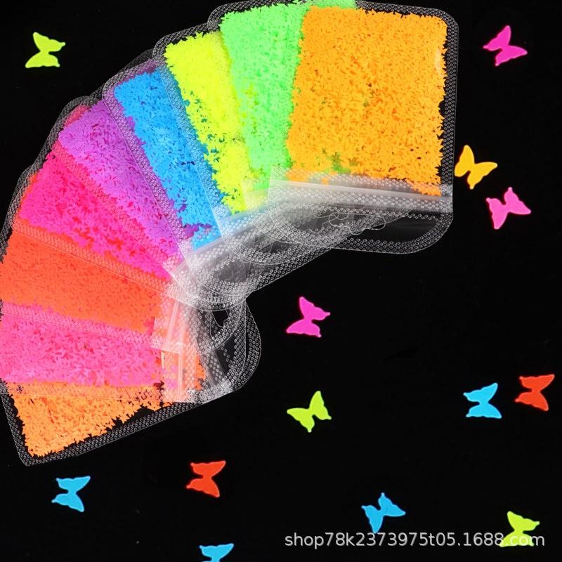 1 saco de arte do prego borboleta lantejoulas fluorescentes cor misturada lantejoulas 3mm fosco arte do prego lantejoulas acessórios da jóia arte decorativa