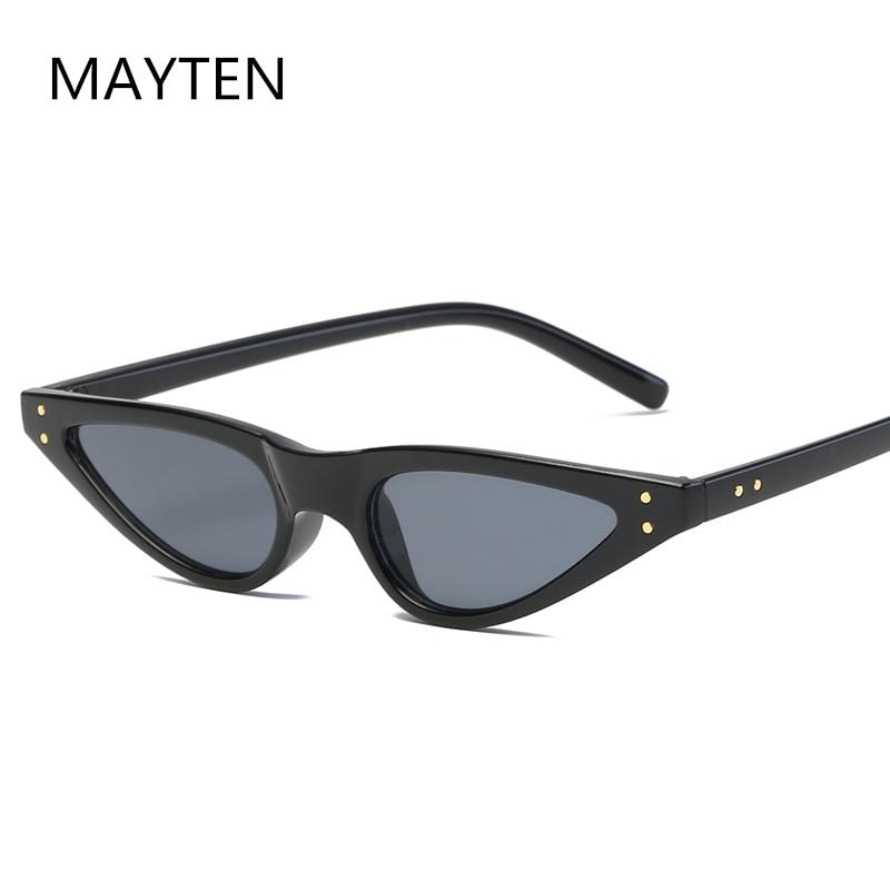 Small Oval Vintage Sunglasses Women Cat Eye Brand Design Retro Skinny Cateye Frame Tiny Sun Glasses
