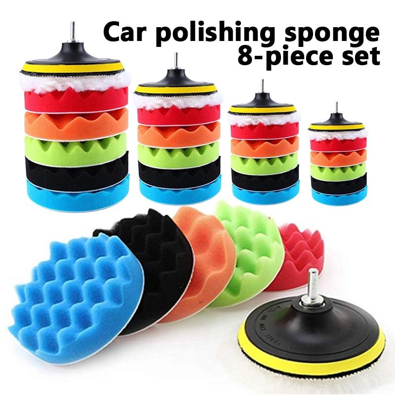 3 polegada 8 peça almofada de polimento encerado polido esponja conjunto beleza do carro ferramenta de polimento esponja roda carro polimento ferramentas