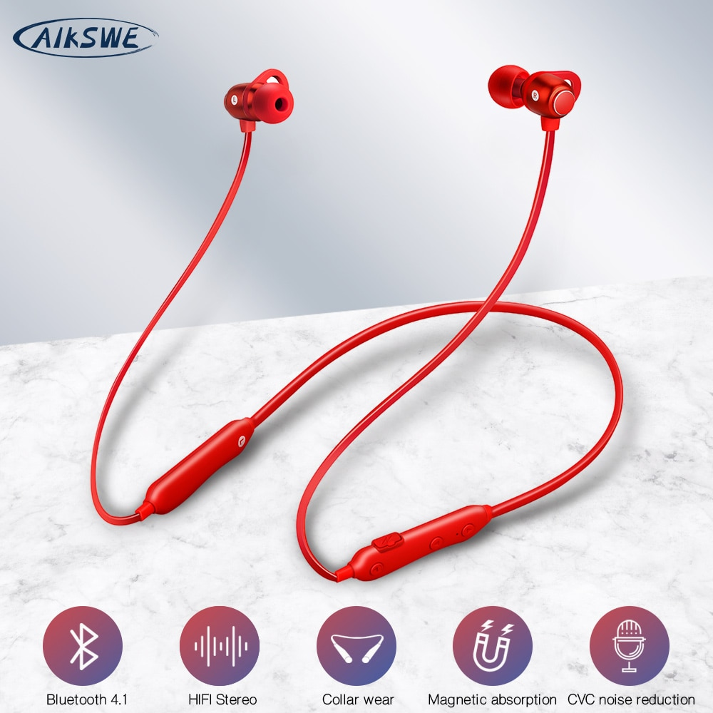 Auriculares Bluetooth inalámbricos AIKSWE, auricular deportivo magnético para correr, Auriculares deportivos a prueba de agua IPX5, auriculares con reducción de ruido