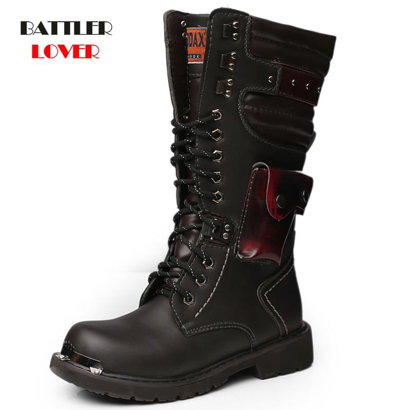 أحذية قتالية عالية للرجال مزودة بإبزيم ، أحذية شتوية عصرية للرجال ، أحذية عسكرية بريطانية للدراجات النارية ، 37-46