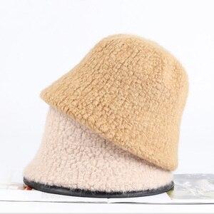 Winter Wool Woolen Knitted Bucket Hat Cashmere Blended Hats For Women Warm Basin Cap Korean versatile Winter Fisherman Hats