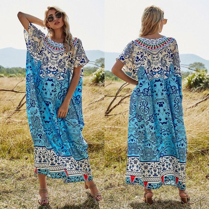 فستان تونيك بوهيمي كبير الحجم للنساء ، طباعة زهور وأوراق الشجر ، قفطان طويل ماكسي ، ياقة دائرية ، أكمام قصيرة ، كيمونو ، فستان شاطئ