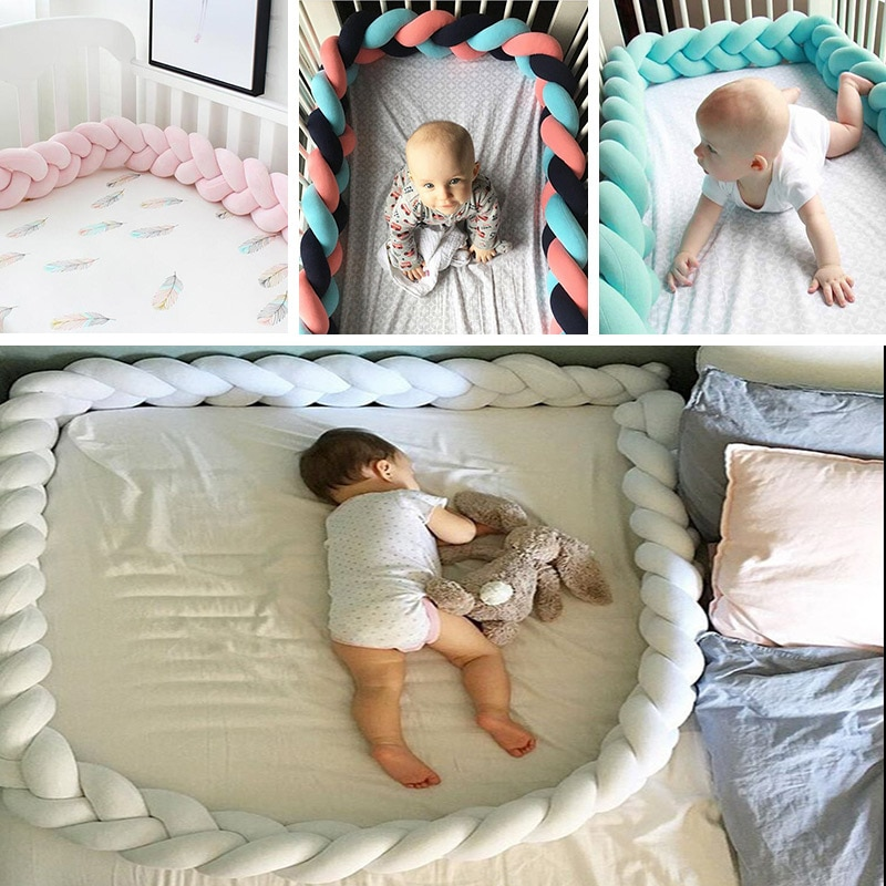 New Arrival 19-27 Baby Crib Bumper Comfortable Bed Cushion Cot Protector Unisex 1.5M/2M/3M Twist Knot Pillows Stuff
