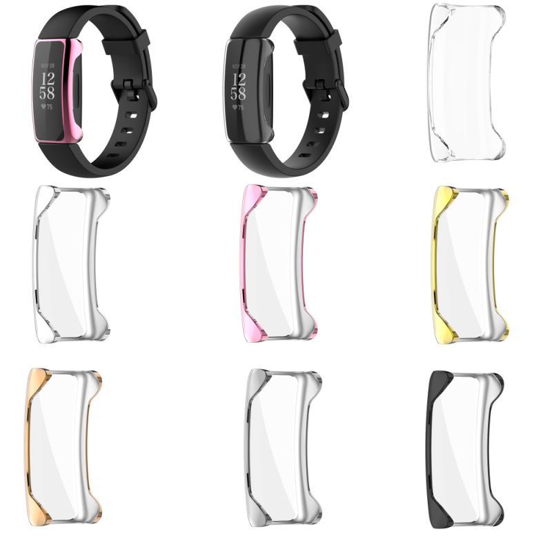 Защитный чехол из ТПУ для смарт-браслета Fitbit Inspire 2, чехол с гальваническим покрытием, прозрачный полноразмерный Сменный Чехол TSLM2 чехол