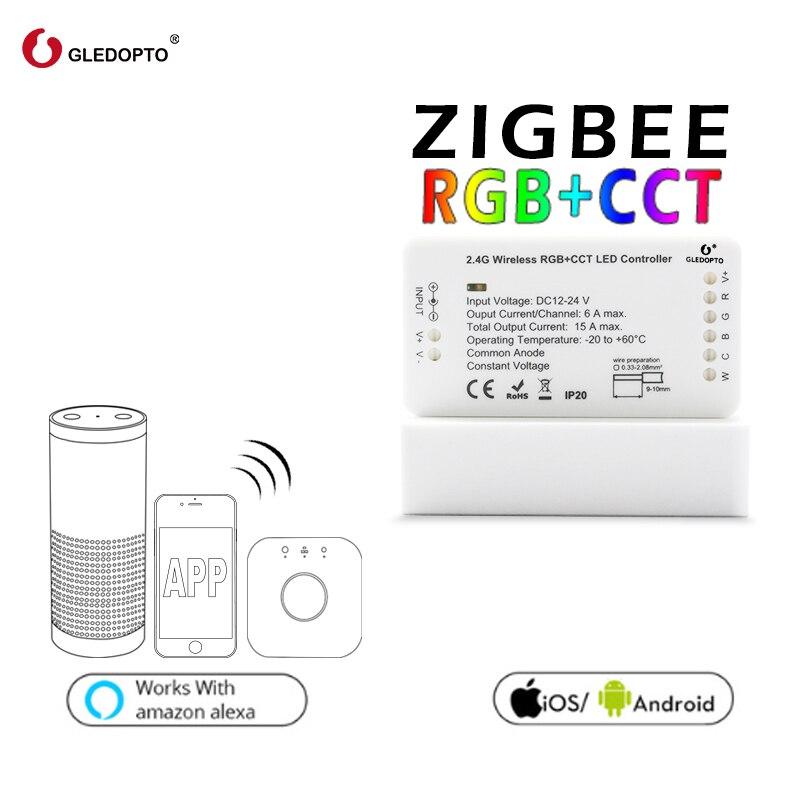 Gledopto rgb + cct zigbee inteligente tira de luz led controlador DC12-24V trabalho em casa inteligente hue ponte amazon alexa eco