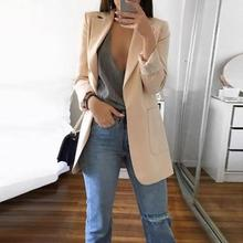 Fashion Women Solid Color Open Front Pockets Jacket Coat Long Office Blazer