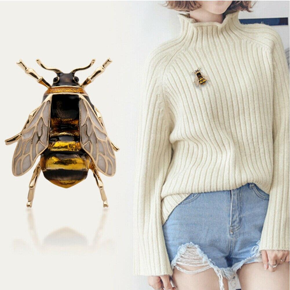 Broche de dama de moda Animal pintura al óleo solapa Pin decoración de ropa elegante insecto forma ramillete aleación Bumble Bee broche