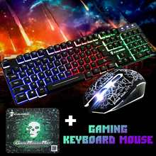 T6 Ergonomic Keyboard Mouse Combo USB Wired Keyboard Gaming Kit Waterproof Rainbow LED Backlit Gamer Keyboard And Mouse Set