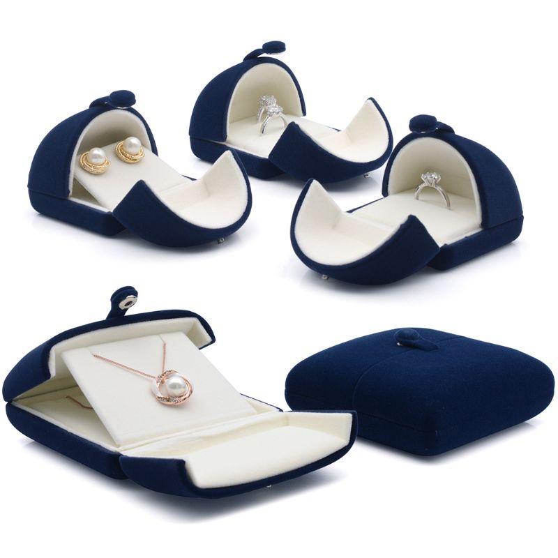Display Blue Velvet Jewelry Gift Storage Box