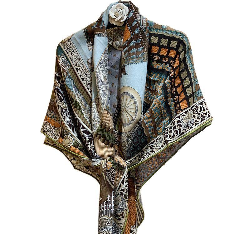 140 سنتيمتر أوشحة مربعة الفاخرة الحرير الكشمير وشاح الحجاب العلامة التجارية النساء وشاح اليدوية مجعد سلم السيدات Foulard عقال باندانا