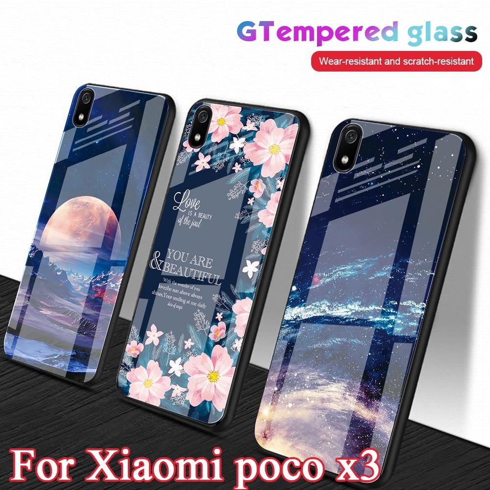 Glass Phone Case For Xiaomi poco x3 Pocophone F1 Hard Back Tempered Glass Cover For Xiaomi poco x3 C