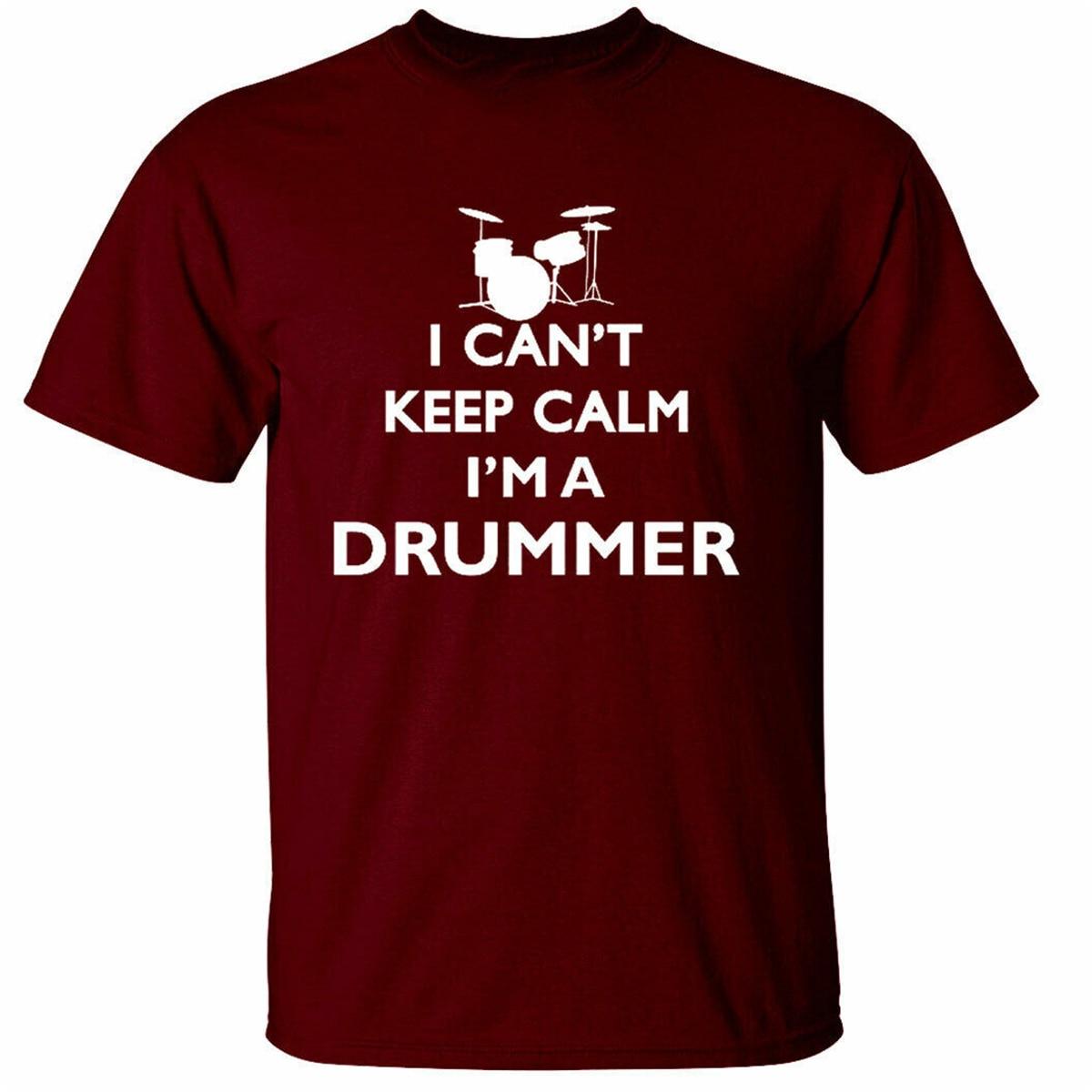 Camiseta para hombre de baterista Keep Calm, divertido regalo de baterista, banda de músico, camiseta informal