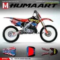 humaart motorcycle graphics racing stickers dirt bike vinyl decals kit for cr125 cr250 cr 125 250 2000 2001 blue red