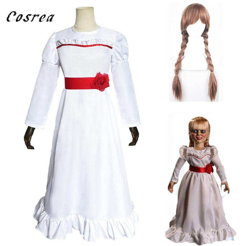 Movie Annabelle Hair Cosplay White Adult Dress Halloween Carnival Costume Annabelle Costume Dress Wig for and Women Kids