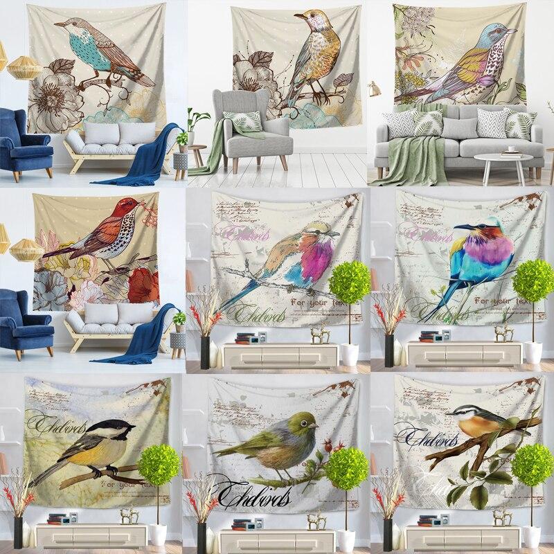 Pássaro flor tapeçaria parede pendurado psicodélico pássaros tapeçaria boêmio mandala hippie tapeçaria para o quarto